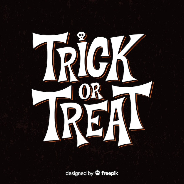 Black lettering with trick or treat message Free Vector