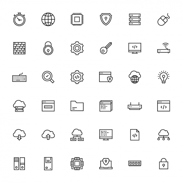 Black line art illustration of business or programing icon. Premium Vector