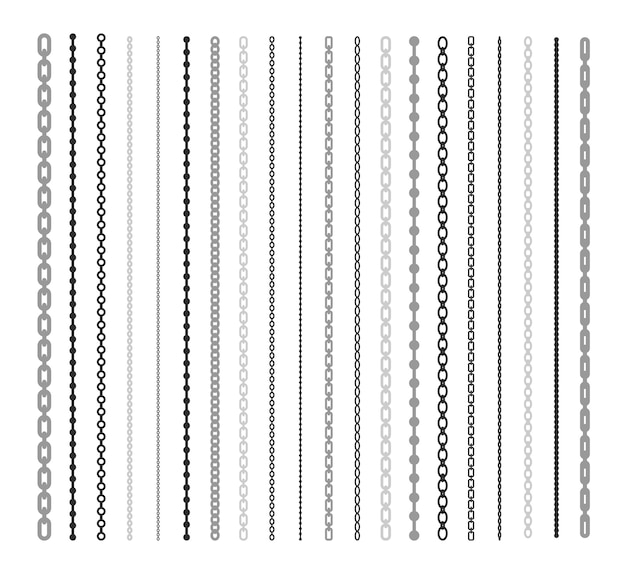 Black lines of chain flat illustration set. chain link and border pattern brush isolated vector collection. connection and fashion design elements concept Free Vector