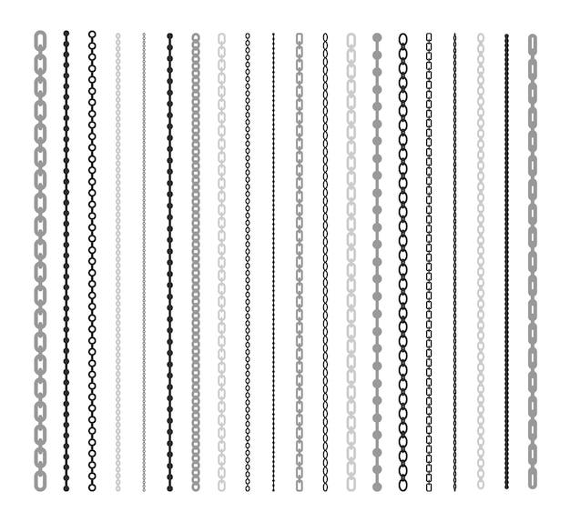 체인 평면 그림 세트의 검은 선. 체인 링크 및 테두리 패턴 브러쉬 절연 벡터 컬렉션. 연결 및 패션 디자인 요소 개념 무료 벡터