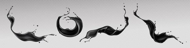 검은 액체 밝아진, 소용돌이 및 분산 형 방울이있는 파도 무료 벡터