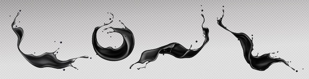 Black liquid splashes, swirl and waves with scatter drops Free Vector