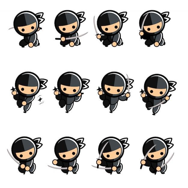 Black little cartoon ninja action set Premium Vector