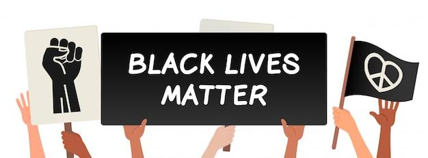 黒い生活問題、抗議バナーを保持している手ベクトルイラスト Premiumベクター