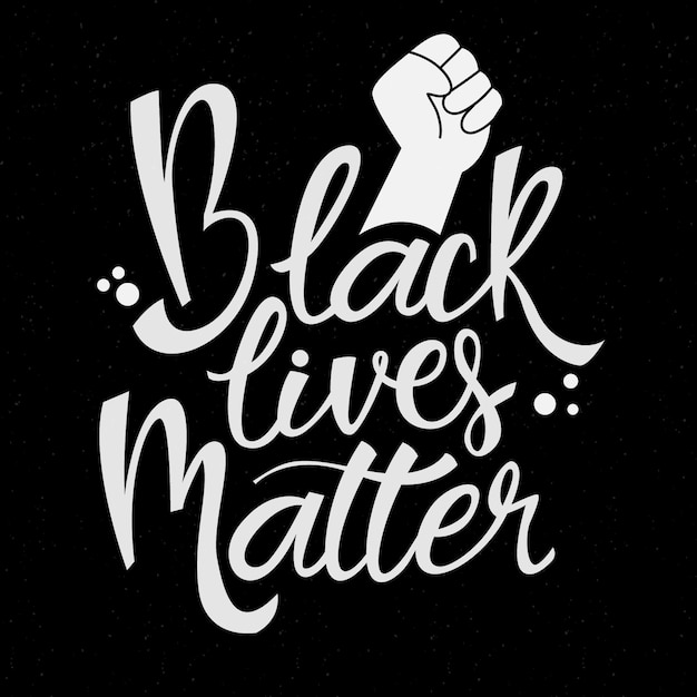 Black lives matter lettering with drawn fist Free Vector
