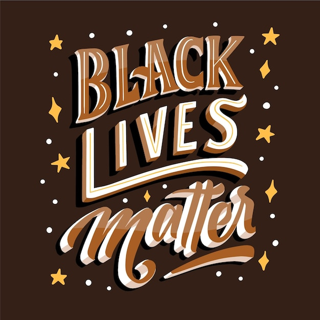 Black lives matter lettering with stars Free Vector