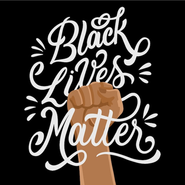 Free Vector | Black lives matter message with raised fist