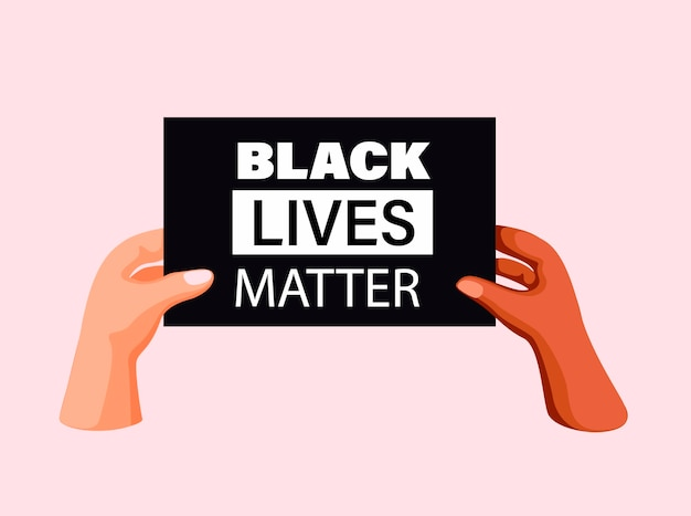 Premium Vector Black Lives Matter Two People Hand Holding Sign Board Diversity Unity Symbol In Cartoon Illustration