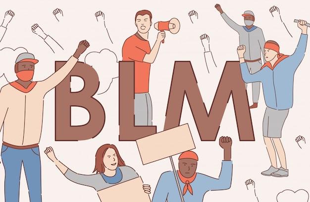 黒の生活問題ベクトル漫画概要バナーコンセプト。寛容、黒人の人権ポスターコンセプト。 Premiumベクター