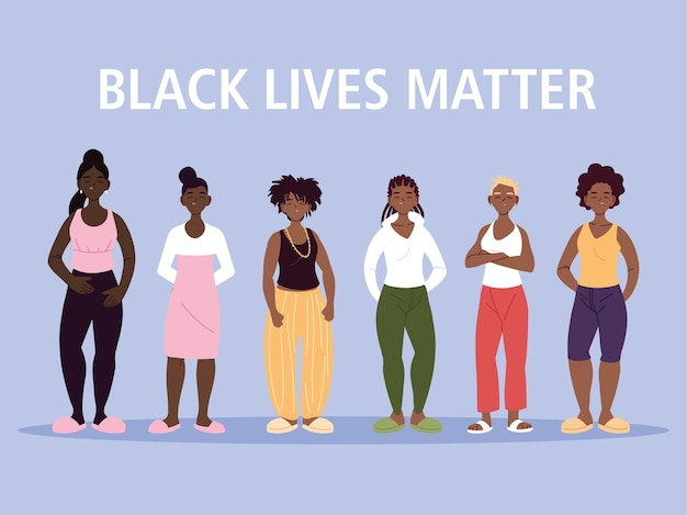 Black lives matter with women cartoons of protest justice and racism theme illustration Premium Vector