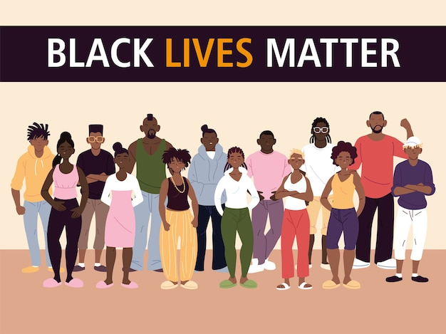 Black lives matter with women and men cartoons design of protest justice and racism theme illustration Premium Vector