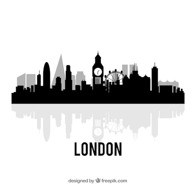 Black London Skyline Design Free Vector