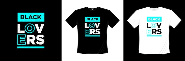 Черный любовник типография дизайн футболки Premium векторы