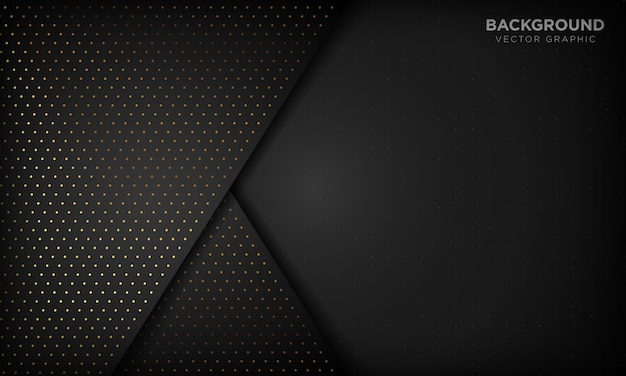 Black luxury abstract background with overlap layers. texture with gold glitters dot element. Premium Vector