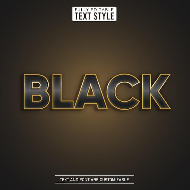 Black luxury shining gold metallic editable text effect Premium Vector