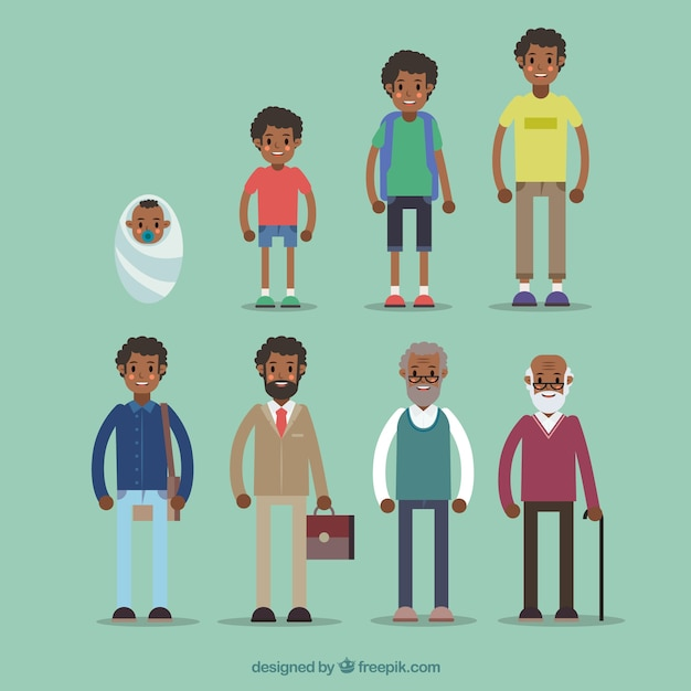 Black man in different ages Free Vector