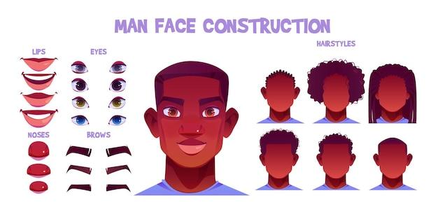 Создание лица черного человека, создание аватара с разными частями головы на белом Бесплатные векторы