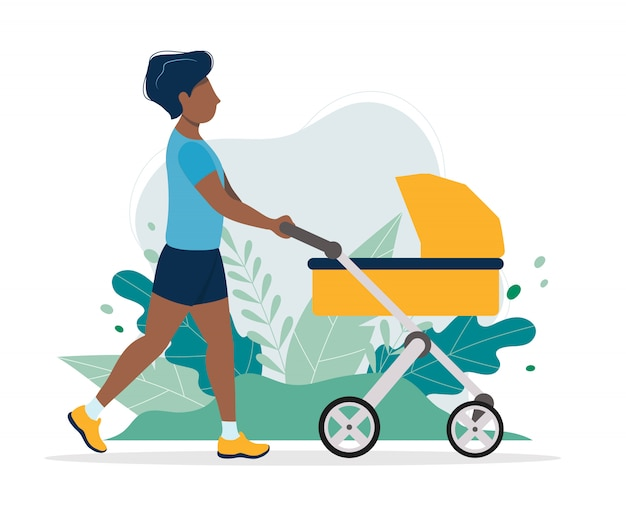 Black man with a baby carriage Premium Vector