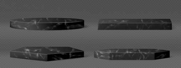 Piedistalli in marmo nero per l'esposizione di prodotti cosmetici, mostre o trofei. insieme realistico di vettore di podi di pietra vuoti, piattaforme diverse forme isolate su sfondo trasparente Vettore gratuito