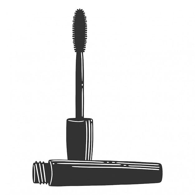 Black mascara brush. Premium Vector