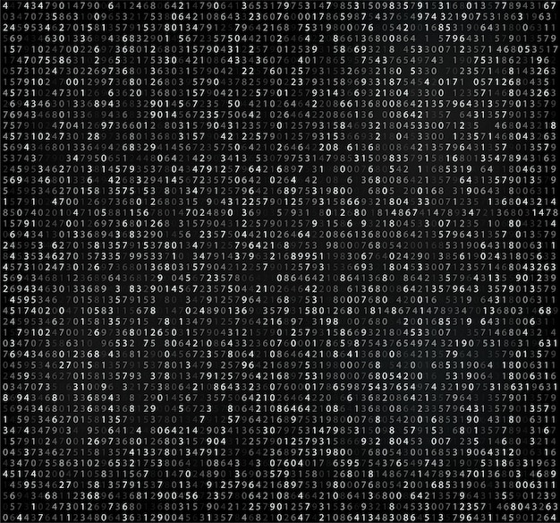 Black matrix  with digits, computer code for encrypting and encoding Premium Vector