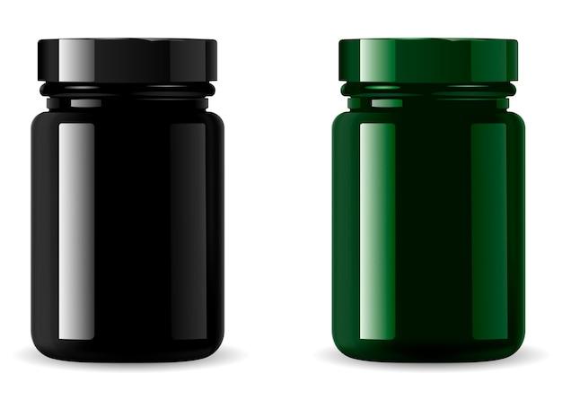 Black medicine bottle mockup. cosmetic packaging Premium Vector