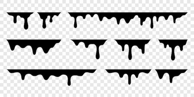 Капли черного расплава или капли жидкой краски Premium векторы