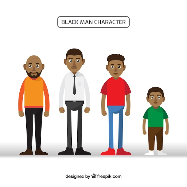 Black men collection in different ages