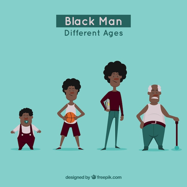 Black men collection in differente ages