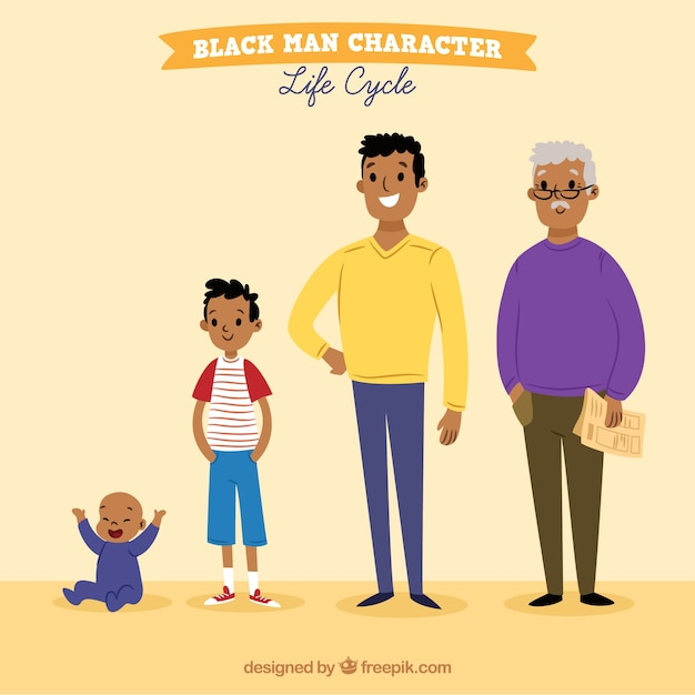 Black men in different ages Free Vector