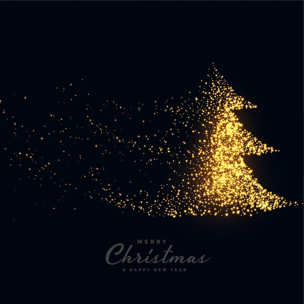Black merry christmas background with sparkling tree Free Vector