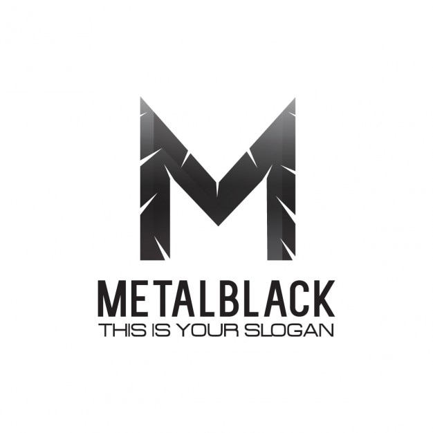 Black Metallic Letter M Logo Free Vector