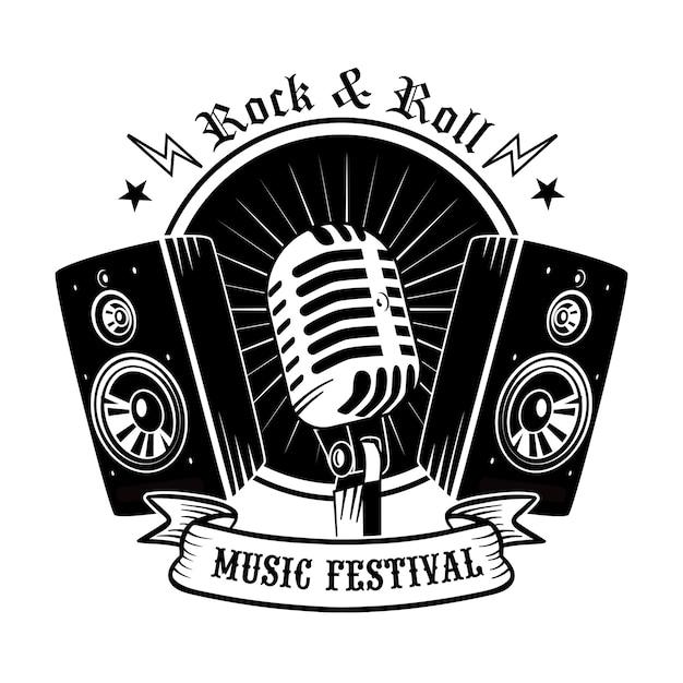 黒のマイクとスピーカーのベクトル図。コンサートや音楽祭のヴィンテージプロモーションロゴ 無料ベクター