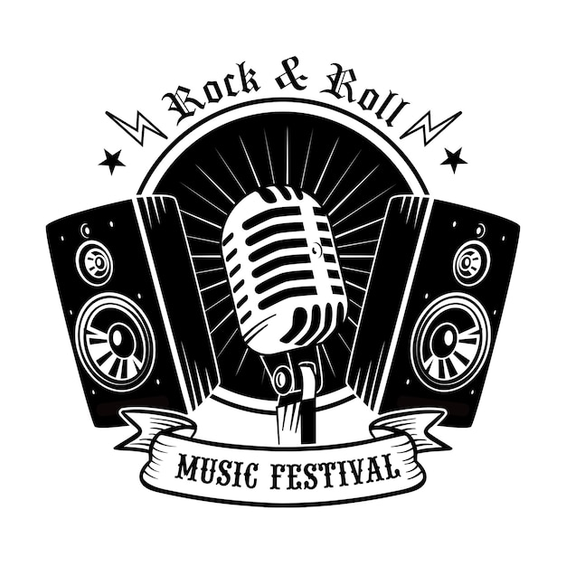 Black mic and loudspeakers vector illustration. vintage promotional logo for concert or music festival Free Vector
