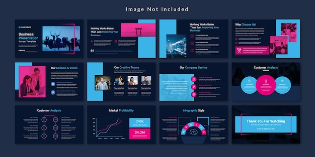 Шаблон презентации бизнес-слайдов black minimal Premium векторы