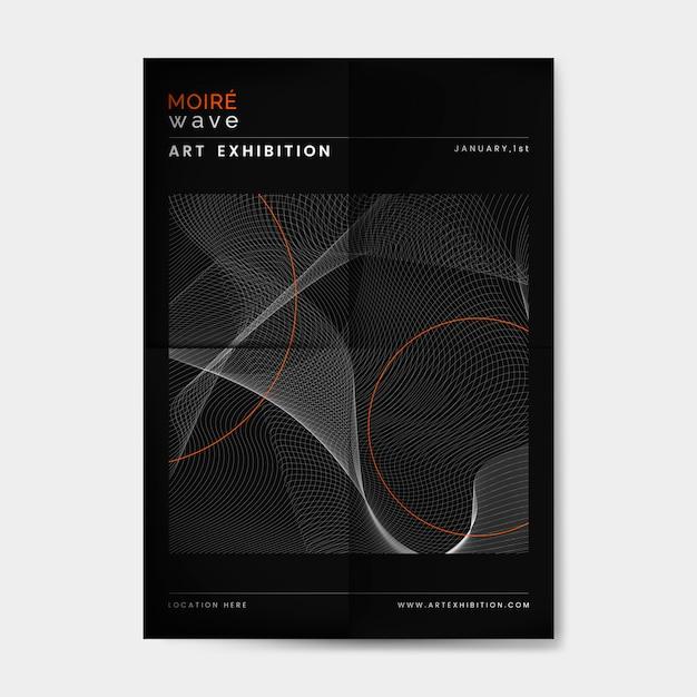 Black moiré wave art exhibition poster vector Free Vector