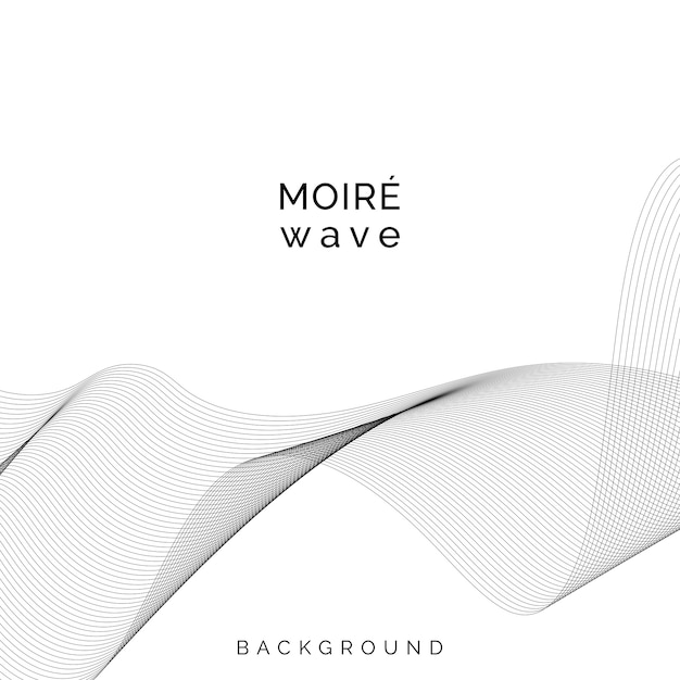 Black moiré wave on white background Free Vector