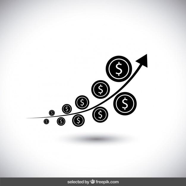 Диаграмма роста черный деньги Бесплатные векторы