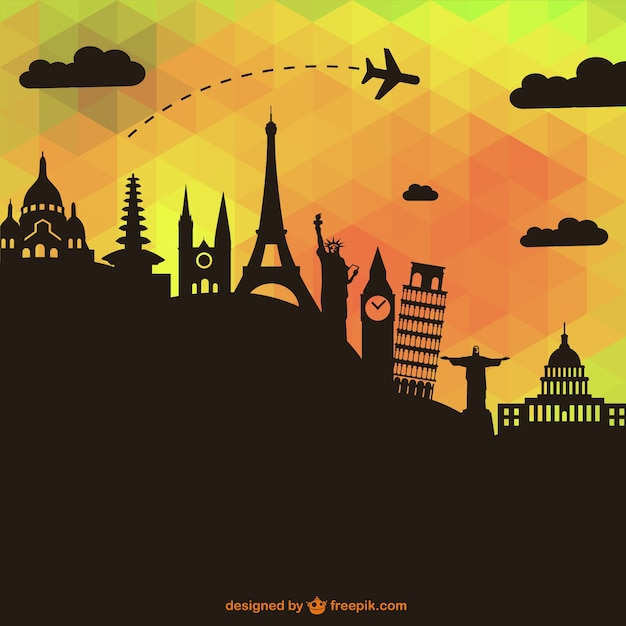 Black monuments silhouettes and polygonal background Free Vector