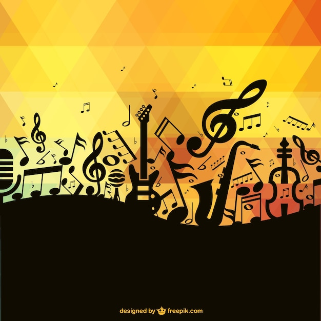 Black Music Notes And Instruments Polygonal Background Free Vector