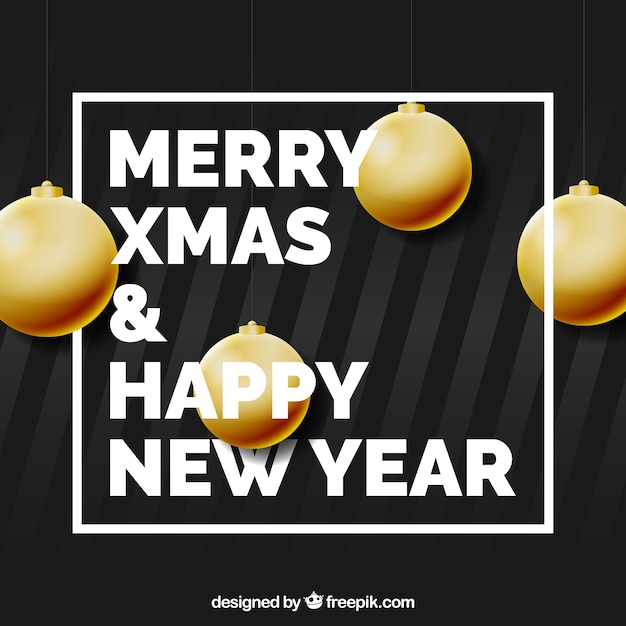 Black new year background with golden baubles