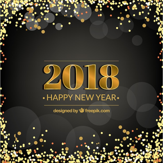 black new year background with golden confetti free vector
