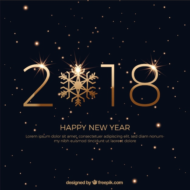 black new year background with golden letters