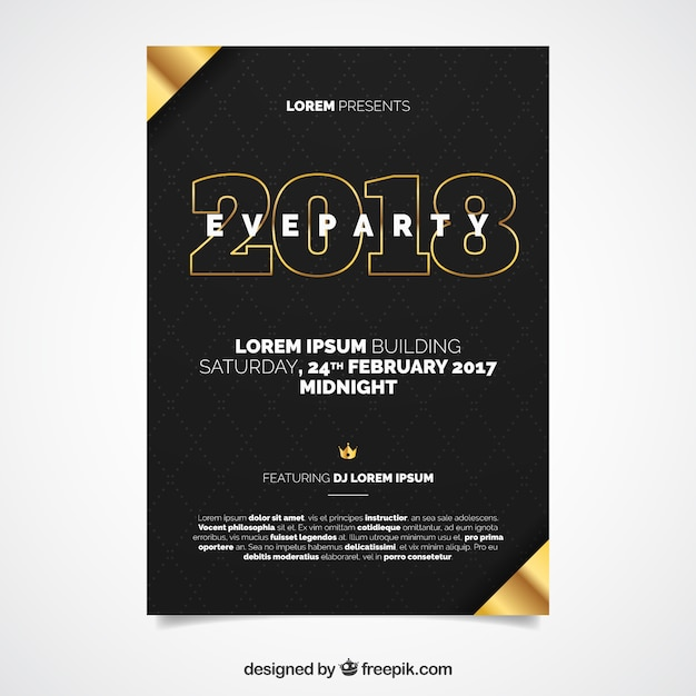 black new year flyer template vector free download