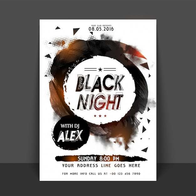 black night party flyer template or banner design abstract