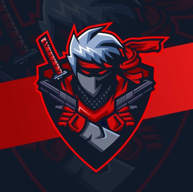 Black ninja with guns mascot esport logo design Premium Vector