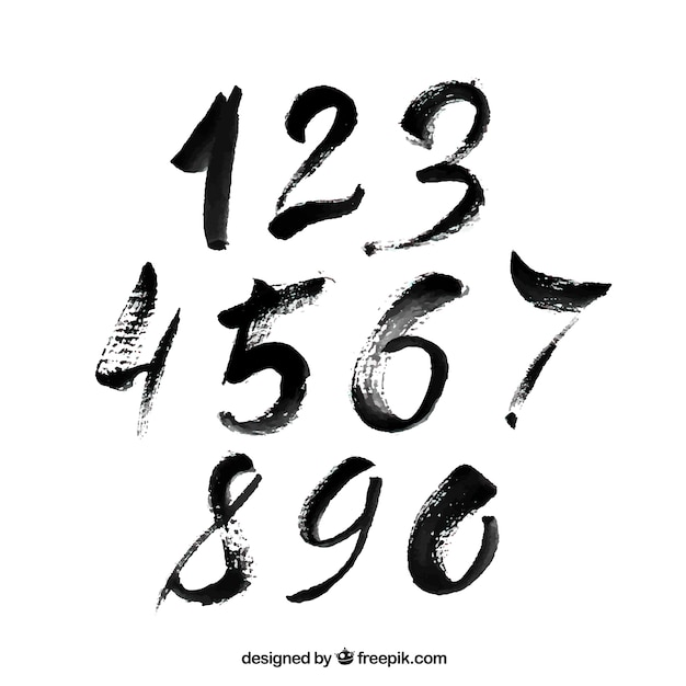 Black number collection in chalk style Free Vector