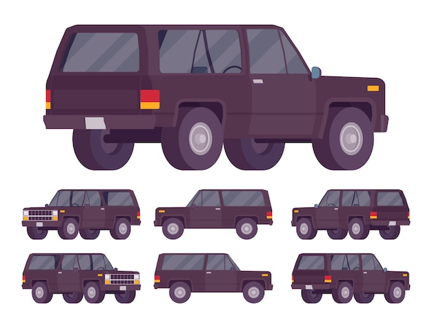 Black offroad set Premium Vector