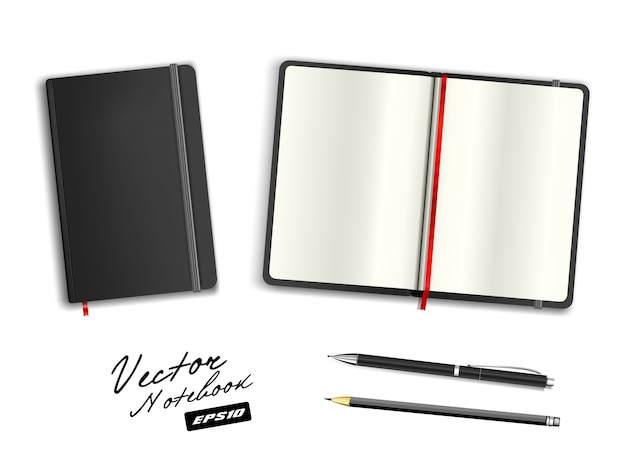 Black open and closed copybook template with elastic band and bookmark. realistic stationery cerulean black pen and pencil. notebook  illustration  on white background. Premium Vector