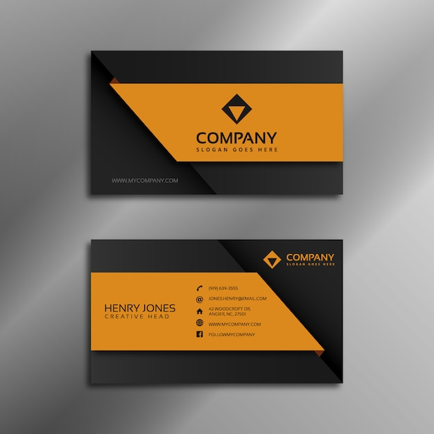 Black and orange business card Vector | Free Download
